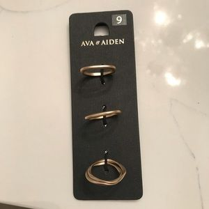Ava and Aiden ring set stacking brushed gold 9